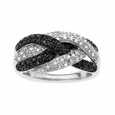 1/2 ct Black & White Diamond Ring in Sterling Silver