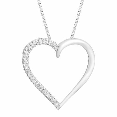 Open Heart Pendant with Diamonds in 14K White Gold