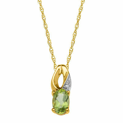 1/2 ct Natural Peridot Pendant with Diamond in 10K Gold