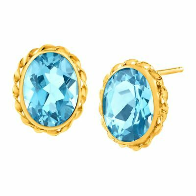 3 1/5 ct Natural Swiss Blue Topaz Button Stud Earrings in 14K Gold
