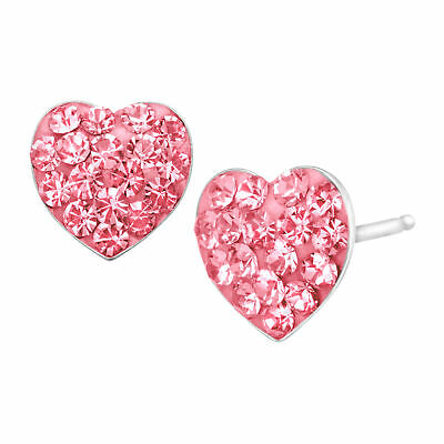 Crystaluxe Heart Button Stud Earrings Rose Swarovski Crystals in Sterling SIlver