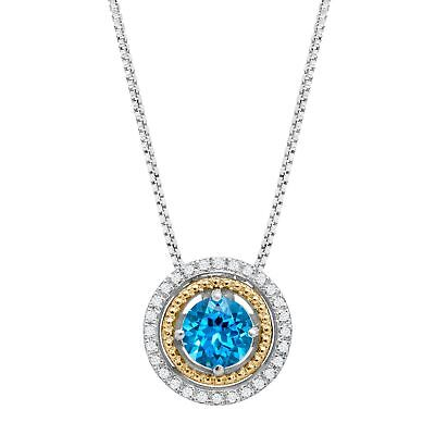 1 ct Natural Swiss Blue Topaz Pendant with Diamonds in Sterling Silver