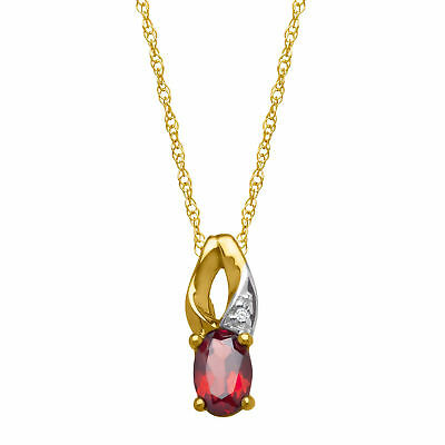 1/2 ct Natural Garnet Pendant with Diamond in 10K Gold
