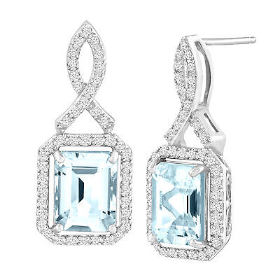 4 3/4 ct Natural Aquamarine & White Topaz Drop Earrings in Sterling Silver