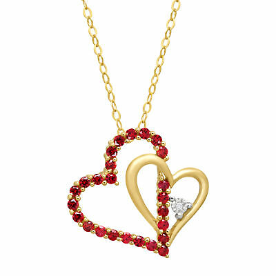 1/2 ct Created Ruby Double Heart Pendant with Diamond in 14K Gold
