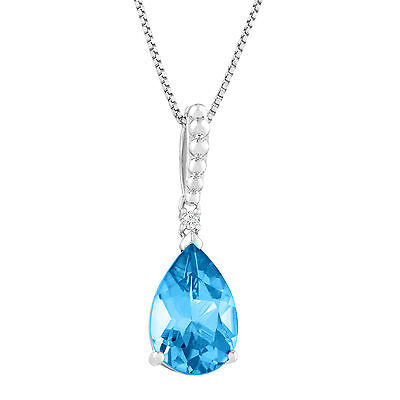 3 1/2 ct Natural Swiss Blue Topaz Pendant with Diamond in Sterling Silver