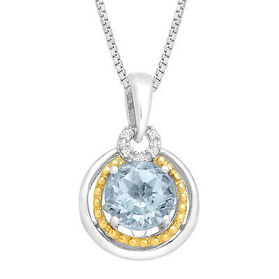 1 1/5 ct Natural Aquamarine Pendant with Diamonds in Sterling Silver & 14K Gold