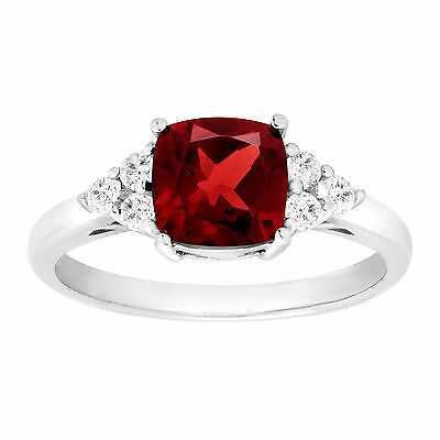 2 1/6 ct Natural Garnet & White Topaz Ring in Sterling Silver