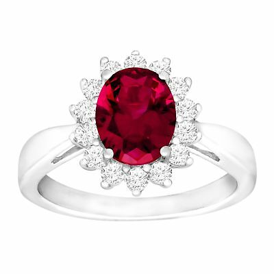 3 1/6 ct Oval-Cut Created Ruby and White Sapphire Ring Sterling Silver, Size 7