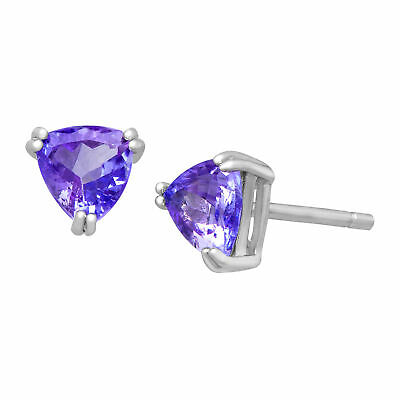 1 ct Natural Tanzanite Trillion Stud Earrings in Sterling Silver