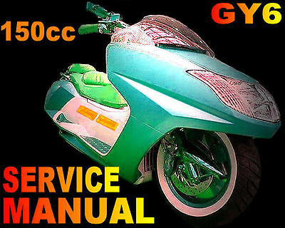scooter 150cc 150 gy6 service repair shop manual on cd wildfire sunl