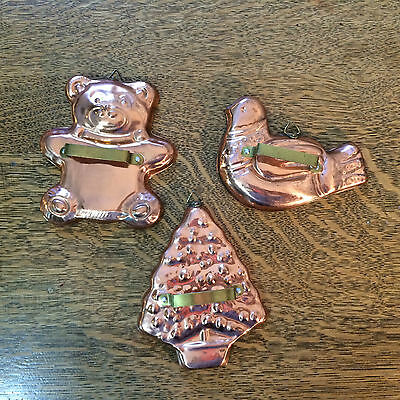 Copper Cookie Cutters Tin Lined Bear Tree Dove VTG Set of 3 handles and hangers