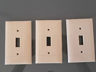 LOT- 3 Sierra Bakelite Ribbed Outlet SwitchPlates -  Ivory