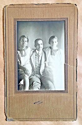 Antique African American Family Large Cabinet Card Old Photo Black Americana