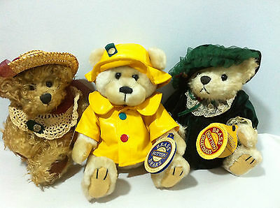 "Pickford Bears Brass Button Collectables "" Harper"" ""Bianca"" ""Rosie"""