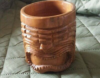 Authentic Hand-Carved Vintage Wooden Tiki Mug with Handle Super Nice Wood Grain