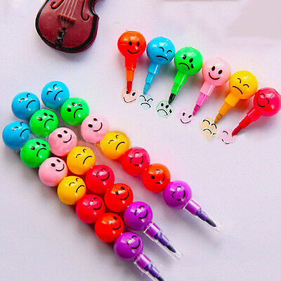 2pcs Funny Smile Face 7 Sugar Colors Crayon Drawing Pencil Marker For Student