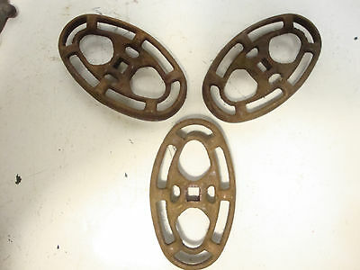 "3 Vintage 4-3/4"" x 2-3/4"" Cast Iron Industrial Valve Handle Steampunk Garden Art"