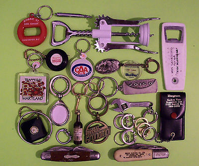 Vintage Lot 30+ Pcs Men's Jewelry & Accessories - Knives Tools Keyrings Fobs +++