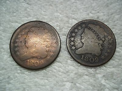 1809 Half Cents U.S. (lot of 2 coins) well circulated #7.55.36