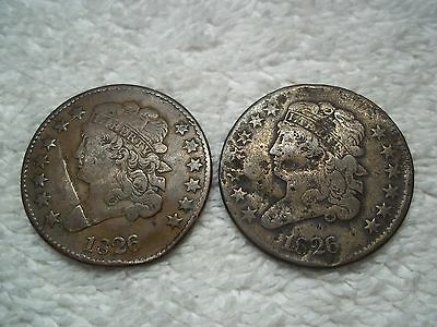 1826 Half Cents U.S. (lot of 2 coins) well circulated #2.37.26