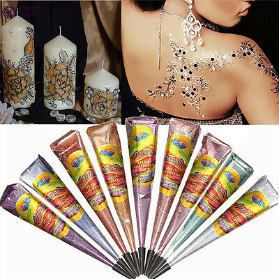 11 Colors Natural Herbal Henna Cones Temporary Tattoo Body Art Paint Mehandi Ink