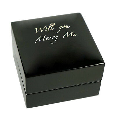 Personalised Wooden Engagement Ring box Jewellery Display Gift Wedding engraved