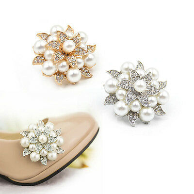 1 Pc Crystal Flower Artificial Pearl Shoe Clips Clip Removable Fashion Elegant