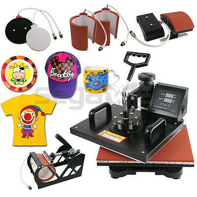Used 6In1 Combo Digital Transfer Sublimation Heat Press Machine T-Shirt Cap Mug