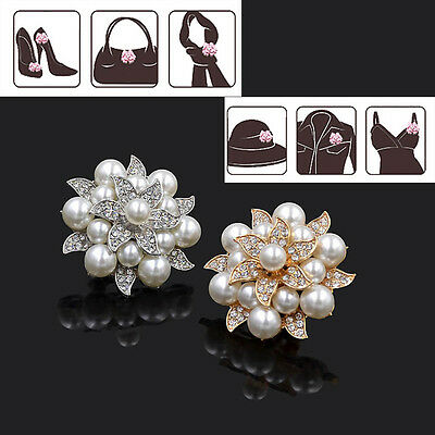 1 Pc Removable Shoe Clip Ornament Crystal Pearl Flower Bridal High-heel Buckle