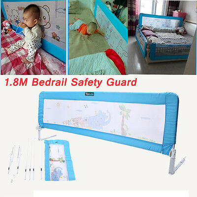 180cm Child Toddler Safety Bed Rail Baby Bedrail Fold Cot Guard Protection Blue