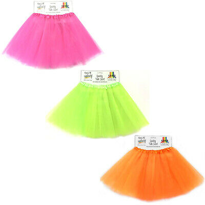 Tulle Tutu Skirt 80s Colour Women Costume Hot Pink Green Neon Fluoro Orange