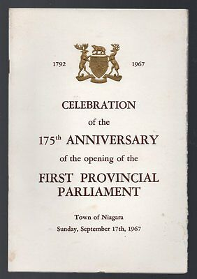 OrigProgram 175TH ANNIVERSARY OPENING FIRST PROVINCIAL PARLIAMENT Niagara 1967