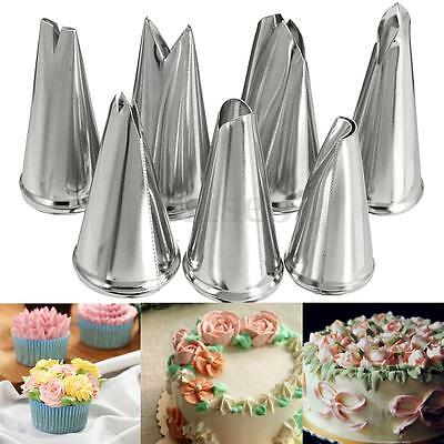 7pcs Stainless Steel Leaf Icing Piping Nozzles Cake Decor Tips Russian Tools