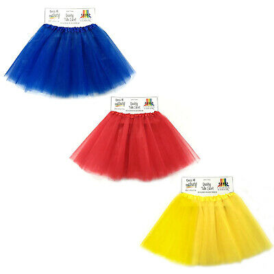 Tulle Tutu Skirt Womens Costume 1980s Team Supporter Red Yellow Royal Blue