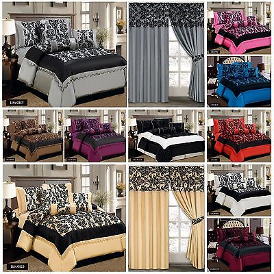 Luxury Flock,7Piece Comforter Set;Bed Spread with Matching Cushion & P.Curtains