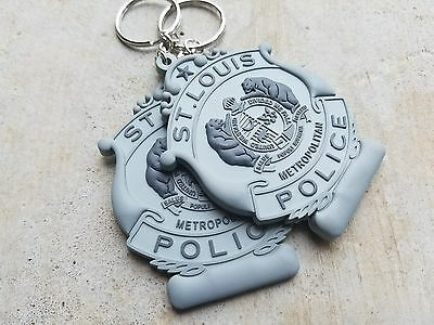 Two (2)  St Louis Police Badge Rubber Keychains