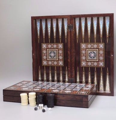 """3 in 1 CHESS BACKGAMMON & CHECKRS SET PIECES YENIGUN MOTHER OF PEARL DESIGN 20"""""""