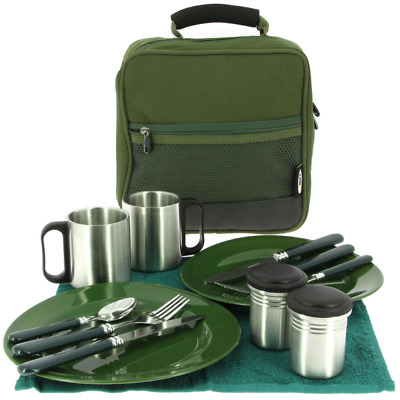 Deluxe Picnic Camping Fishing Cutlery Bag Set with Plates Knives Forks Mugs