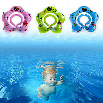Baby Newborn Bath Swimming Circle Neck Float Ring Safety Inflatable Aid Toy