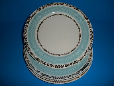Set of 4 Salad Plates American Limoges Candle Light Lyceum Blue LC USA Gold