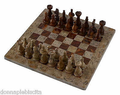 Scacchiera con Intarsi Marmo Onice Fossile Onyx Inlays Chessboard Chess 20x20cm