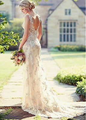 New White/Ivory Lace Wedding Dress Bridal Gown Custom Size:6 8 10 12 14 16+