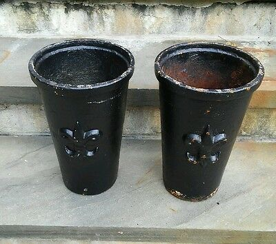 Pair Antique Heavy Cast Iron Planters w/ Fluer de lis French ? Garden