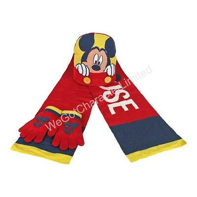 Mickey Mouse 3 Piece Set Hat Gloves Scarf 3-6 Years