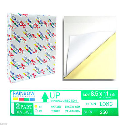 NCR Carbonless 2 Parts Paper for Laser & Inkjet Printer, 250 Sets -Reverse Seque