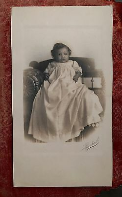 Antique Cabinet Card Photo Lovely African American Baby Girl Old Black Americana