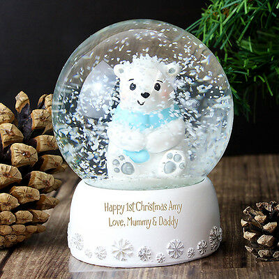 PERSONALISED Blue Bear Snow Globe - Boys Gift  - Baby Christening or Birthday