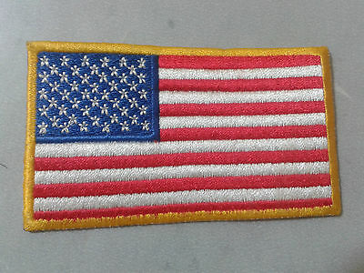 USA UNITED STATES FLAG GOLD BORDER IRON SEW ON PATCH REVERSE no-446