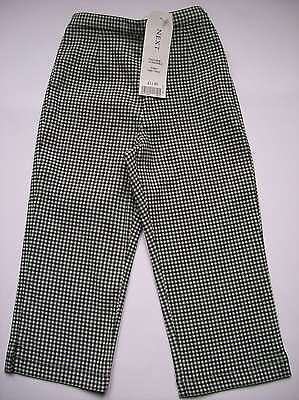 Bnwt Girls Next Black & White Check Capri Pants Age 9 Years Only Left